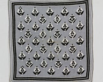 Mid century  Man Handkerchief, Mans Hankie, Gray, White, Black Square hankie, Stylized Flowers, Cotton hankie
