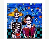 50% Off Today- Day of the Dead Art Ceramic Tile Frida Kahlo Mexican Folk Art  Sugar Skulls Coaster (HG377)
