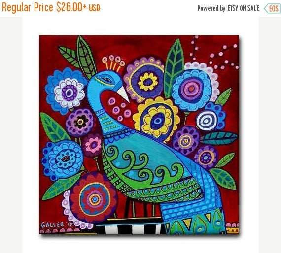 50% Off Today- Peacock art Tile Ceramic Coaster Mexican Folk Art Print of painting by Heather Galler bird
