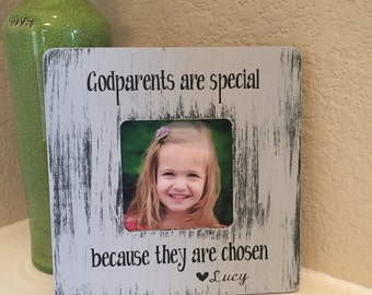 Godparents Frame Gift Godmother Godfather Godparents Gift From Godchild Personalized Picture Frame Board Frame Personalized Frame Gift
