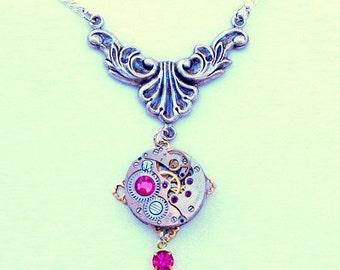 Hot Pink Swarovski Crystal, Ruby Jeweled Vintage Watch Movement, Steampunk  Necklace, Edwardian Fantasy, Steam Punk Goth