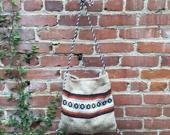 Brown and white Mexican blanket bag