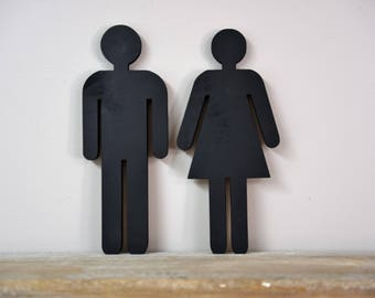 Bathroom Restroom Standing People Wood Cut Out Sign