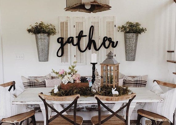 Gather word wood cut wall art sign decor for Country dining room wall art