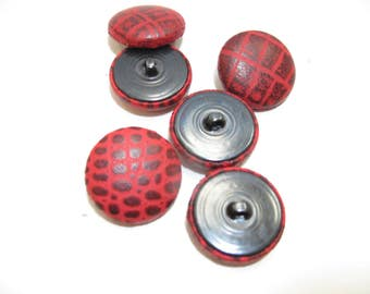 45 Line Lambskin Leather Covered Buttons in Red Crocodile Print 6 PC.