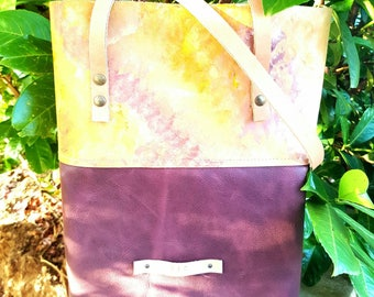 Purple leather Tote Bag | Classic Tote | Leather Bag | Hand painted leather | Gift for her | Shoulder Bag | Everyday market bag