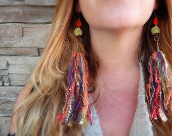 Fiber Tassels GYPSY Dangle Earrings Festival Wear Ren Faire Garb Hippie Style Fall Colors Tribal Textile Jewelry Free Spirited Funky Tassel