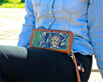"Tribal Immunity Hand Painted Vegan Leather Mane""Single-Zipper Wallet"