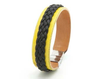 Yellow leather cuff, Yellow and black bracelet, Braided cuff - the Twain Cuff