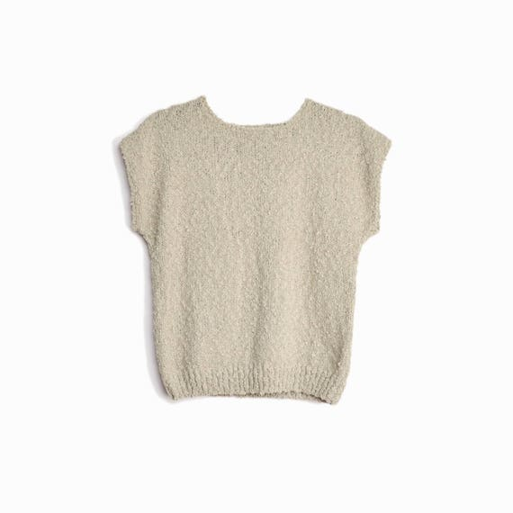 Vintage 80s Cap Sleeve Boucle Sweater / Gray Beige Knit Top - women's small