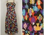 80s Vintage Black Novelty Fish Hawaiian Print Long Sun Dress Lanz Originals Bright Colorful Spaghetti Strap Full Skirt Dress Large