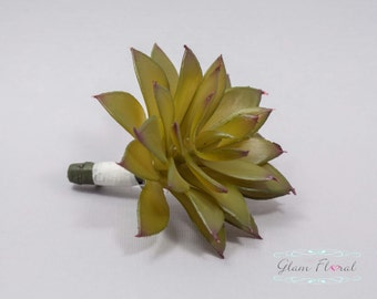 Moss Green Succulent Boutonniere.  Wedding Groom's Flower- Prom Bout- Real Touch Boutonniere- pin on flower button hole