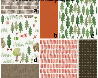 Crib Bedding Forest, trees, bear in brown orange green. Customize your set: crib sheet, changing cover, skirt, bumper, blanket