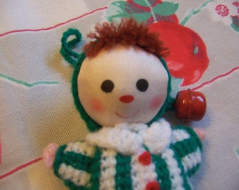 itty bitty knitted doll ornament