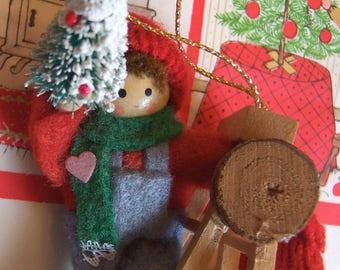 wool felt dolls on a ladder ornament