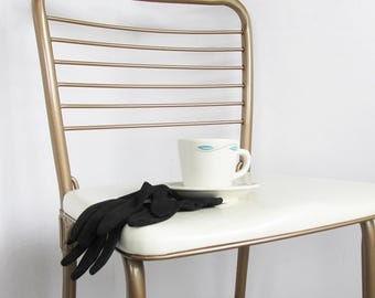 Pair of Mid Century Modern Cosco Gatefold Folding Chairs, Bronze with White Vinyl Seats