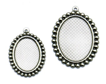 50 Pendant Trays Stainless Steel Bead Frame 13x18mm/ 18x25mm Oval Bezel Setting W/ Ring Wholesale Pendant Base Cabochon Mountings