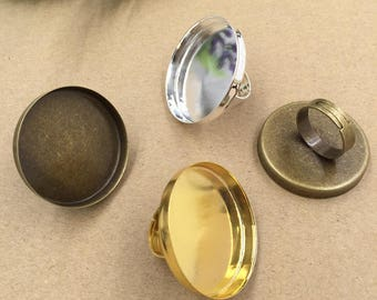 10 Brass Antique Bronze/ Copper/ Silver/ Gold/ Rose Gold/ White Gold/ Gun-Metal Plated Adjustable Ring Base W/ 35mm Round Deep Bezel- Z8833