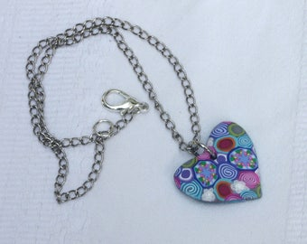 Heart pendant colorful necklace, polymer clay millefiori, with a silver chain