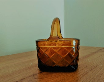 Vintage Miniature Amber Glass Woven Basket