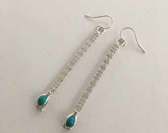Silver & Turquoise Needles Earring