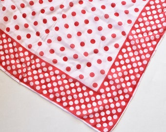 Vintage 1950s Red and White Polka Dot Cotton Scarf