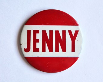 """Vintage 1960s/1970s Pin/Badge with """"Jenny"""" Girls Name Pinback Button"""