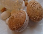 Reserved for Christine: Carved and Etched Victorian Lace Chicken Egg