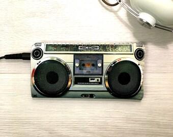 iPhone 7 Case, iPhone 6/6S Case, iPhone 5/5S/5C/SE Case - Retro Boom Box - Music Lovers Vintage Boom Box HipHop - Soft Felt iPhone Sleeve