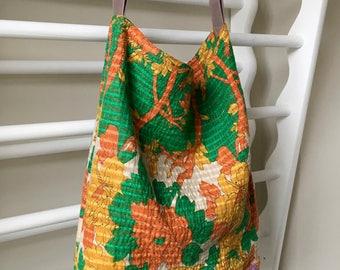 Kantha Shoulder Bag. Indian Fabric Tote Sari Purse  Orange Green Flowers. Tan  Leather Strap. Medium. Vintage Fabric.