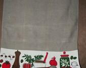 Pair Linen Tea Towels - 2 Vintage Signed KR Gray