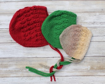 Rosebuds Baby Bonnet. Hand Knit Baby Girl Bonnet. Knit Baby Girl Hat.