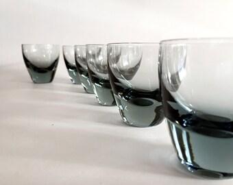 Vintage Shot Glasses  Vintage Bar Glasses Double Shot Glasses Smokey Grey Glass Retro Glass Barware