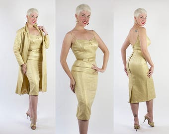 RARE Designer 1950's Metallic Gold Lurex Silk Brocade Extreme Hourglass Cocktail Dress w/ Matching Belt & Dress Coat by ESTEVEZ for GRENELLE