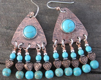 Turquoise Magnesite Sterling Silver and Copper Mixed Metal Chandelier Earrings