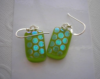 Dichroic Earrings Apple Green With Polka Dots .925 Sterling French Hooks Fused Glass Green Jewelry Women's Iridescent Glass Dangles Homemade