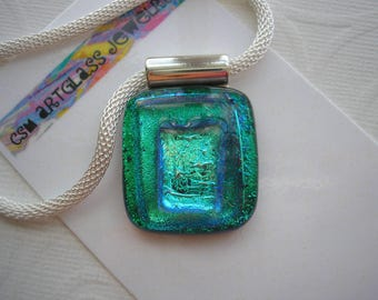 Dichroic Glass Jewelry Shimmering Green Teal Kiln Fused Sparkling Necklace Statement Blue Green Pendant Emerald and Green Jewelry Home Made