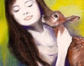 Audrey And Her Pet Deer Pippin Pastel Pencil Charcoal 8x 10 Print By Connie Troupe