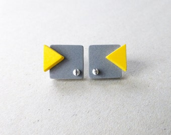geometric minimalist post earrings, grey square yellow triangle, architectural contemporary jewelry