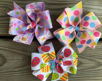 EASTER Bow Set - Large Bows - Boutique Hairbow - Large Hairbow - Little girl bow - wedding flower girl bows - large boutique bow