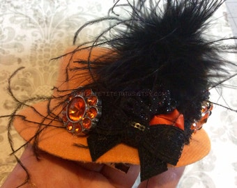 Halloween hat, mini hat, top hat, halloween accessories, pageant hat, custom hat, feather hat, top hat, girls hat, toddler hat, mini top hat