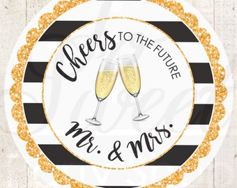 Wedding Favor Stickers, Engagement Party Favors, Bridal Shower Favor Labels, Bachelorette Party Favors, Kate Spade Inspired - Set of 24