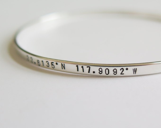 Coordinate Location Skinny Sterling Silver Bangle Bracelet Jewelry - Custom Gift for Her Personalized - Hand Stamped by Betsy Farmer Designs
