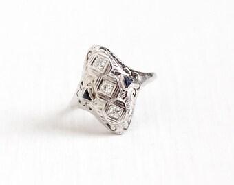 Sale - Antique 18K White Gold Diamond & Created Blue Sapphire Filigree Dinner Ring - Size 6 3/4 Vintage Art Deco 1920s Fine Shield Jewelry