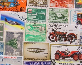 Ready Steady Go 50 Vintage Postage Stamps Transportation Planes Train Automobile Car Blimp Hot Air Balloon Travel US Worldwide Philately
