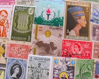 Peace In the Middle East 50 Vintage Middle Eastern Postage Stamps Arab Spring Arabic Muslim Islamic Arabian Sanskrit Worldwide Philately