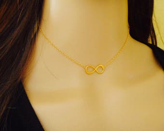 Choker Necklace, Infinity Necklace Choker, 14kt gold filled or sterling silver