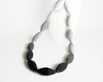 ombre gray: Statement Necklace FILA with Beads of Corrugated Cardboard