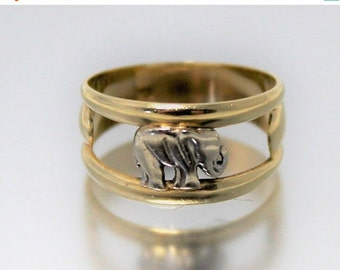 ON SALE Vintage Woman's Elephant Ring Heavy Yellow White 14ct 14k | FREE Uk Shipping | Size Q / 8.5