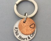 Anniversary Gift - Anniversary Gift For Men - Personalized KeyChain - Stamped Penny KeyChain - Hours & Counting Keychain